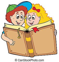 男孩, 学校书, 女孩阅读