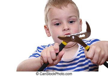 男孩, 带, 工具