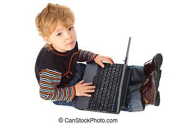 男孩, 带, 笔记本电脑