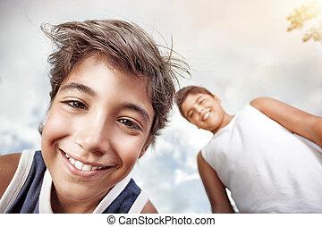 男孩, 开心, 二, 肖像