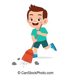 男孩, 很少, 地板, 清扫, 开心, 漂亮, 孩子