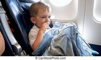 男孩, 很少, 快餐, 坐, 座位, 飛機, 學步的小孩, 有