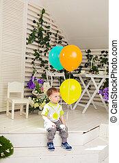 男孩, 很少, 概念, 气球,  -, 生日, 在室內, 黨, 孩子, 童年