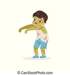 男孩, 很少, 漂亮, 蛇神, 万圣節, 插圖, 矢量, 服裝, 被給穿衣, 孩子