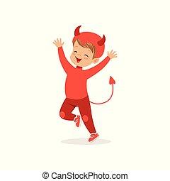 男孩, 很少, 漂亮, 被給穿衣, 万圣節, 插圖, 矢量, 服裝, 魔鬼, 紅色, 孩子