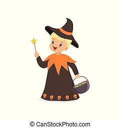 男孩, 很少, 漂亮, 被給穿衣, 巫術師, 插圖, 矢量, 服裝, 万圣節, 孩子