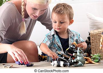 男孩, 很少, 玩, 她, 母親