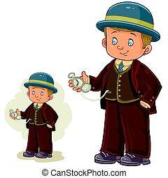 男孩, 很少, 被給穿衣, 時期, 插圖, 矢量, 服裝