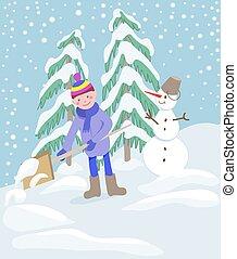 男孩, 很少, 雪, 驱使, 方式, 家, 铲起