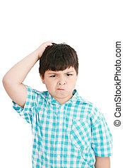 男孩, 抓, 他的, 頭, 在, puzzlement, 或者, 混亂, 如, 如果, 考慮, a, 深,...