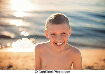 男孩, 括號, 牙齒, 微笑, chhild, 愉快