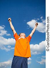 男孩, 提高, 天空, 武器, 对, 庆祝, 胜利
