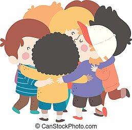 男孩, 擁抱, 組, 插圖, 孩子