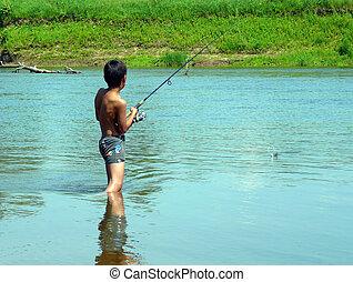 男孩, 旋轉, 釣魚