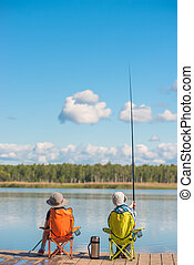 男孩, 木制, 湖捕魚, 打掃, 女孩, 碼頭