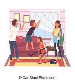 男孩, 洗涤, 房间, 家庭, 妈妈, 一起, 地板, 描述, 他们, 父亲, 矢量, 真空, 窗口, 家, 女孩, 周末, 孩子, 打扫