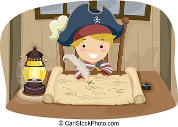 男孩, 海盜 地圖