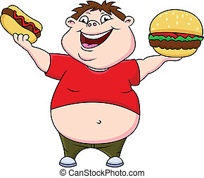 男孩, 熱狗, 肥胖, burger