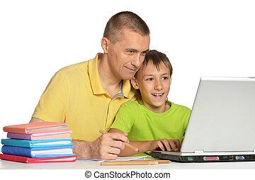 男孩, 父亲, 家庭作业