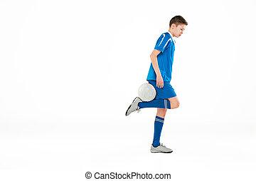 男孩, 球, 飛行, 年輕, 足球, 踢