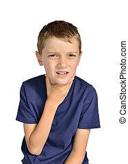 男孩, 由于, 喉痛, 有病