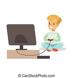 男孩, 由于, 操縱杆, 以及, 控制台, ......的, 愉快, gamers, 享用, 玩, 電視游戲, 人們, 在室內, 玩得高興, 由于, 電腦, 賭博