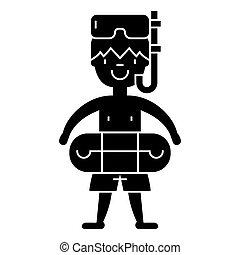 男孩, 由于, 游過面罩, 在, 池, 圖象, 矢量, 插圖, 簽署, 上, 被隔离, 背景