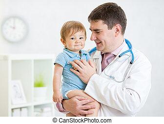 男孩, 病人, 儿科醫生, 藏品, 嬰孩, 男性