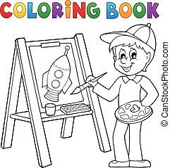 男孩, 着色, 绘画, 书