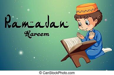 男孩, 穆斯林, 閱讀, 聖經