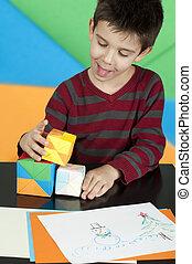 男孩, 立方, 玩, 多种顏色