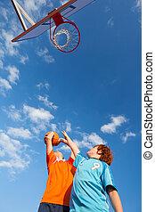 男孩, 篮球, 天空, 玩, 对