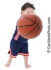 男孩, 篮球, 孩子