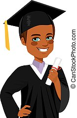 男孩, 美國人, 畢業, african