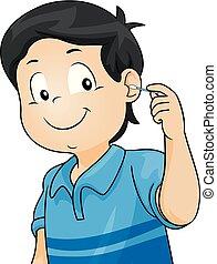 男孩, 耳朵, 打掃, 插圖, 孩子
