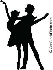 男孩, 芭蕾舞, 跳舞, 黑色半面畫像, 矢量, 女孩