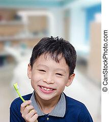 男孩, 藏品, 牙刷, 在, 牙醫, 門診部