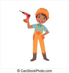 男孩, 藏品, 電鑽, 孩子, 被給穿衣, 如, 建造者, 上, the, 建築工地, 未來, 夢想, 職業, 集合, 插圖