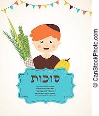 男孩, 藏品, the, 四, species., sukkot, 在, 希伯來人