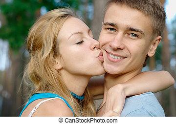 男孩, 親吻, 所作, 女孩