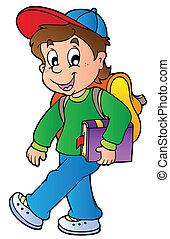 男孩, 走, 学校, 卡通漫画