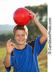 男孩, 足球, 很好, ball., 签署