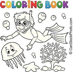男孩, 通气管, 着色书, 潜水员