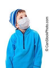 男孩, 醫學, 面罩, 冬天, 衣服
