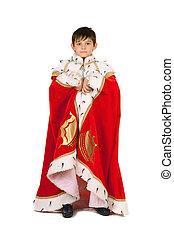 男孩, 長袍, king., 被隔离, 被給穿衣
