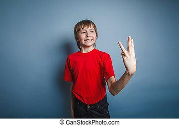 男孩, 青少年, 歐洲, 出現, 在, a, 紅的襯衫, 顯示, 拇指, d