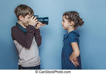男孩, 青少年, 歐洲, 出現, 照片, 青少年的 女孩, 上, a, g