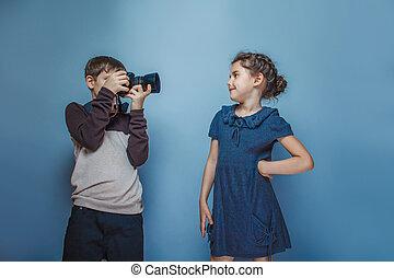 男孩, 青少年, 歐洲, 出現, 照片, 青少年的 女孩