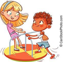 男孩, 騎, 公園, 小, 女孩, carousel., 娛樂