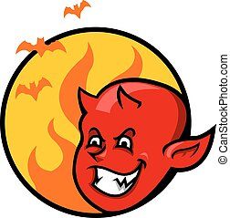 男孩, 魔鬼, 徽章, 紅色